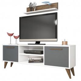 Sconto TV sestava SENFONI bílá /antracit/ořech