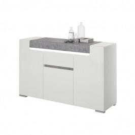 Sconto Komoda CANTERO bílá vysoký lesk/beton