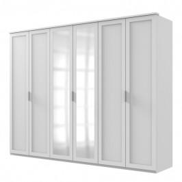 Sconto Šatní skříň NATHAN bílá, 270 cm, 2 zrcadla