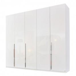 Sconto Šatní skříň COLIN alpská bílá/vysoký lesk, 5 dveří, zrcadlo uvnitř