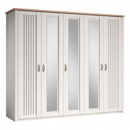 Sconto Šatní skříň TRIENT borovice andersen/dub artisan, 5 dveří, 3 zrcadla