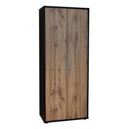 Sconto Policová skříň BÁRA SC 200 dub wotan/černá