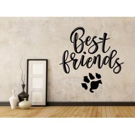 Samolepka na zeď Nápis Best friends (with dog) 0661