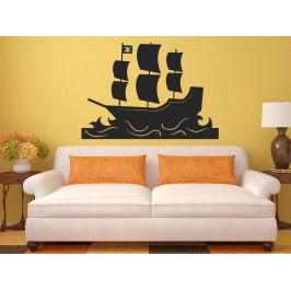 Samolepka na zeď Loď pirátská 0927