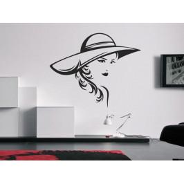 Samolepka na zeď Žena s kloboukem 1089