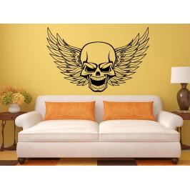 Samolepka na zeď Lebka s křídly 1162