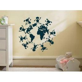 Samolepka na zeď Děti na zeměkouli 001