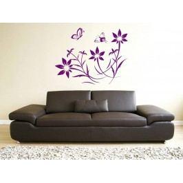 Samolepka na zeď Květiny s motýly 008
