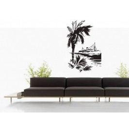 Samolepka na zeď Loď a palma 001