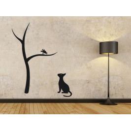 Samolepka na zeď Kočka a strom 0441