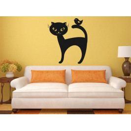 Samolepka na zeď Kočka a ptáček 0459