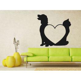 Samolepka na zeď Kočka a pes 0539