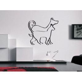 Samolepka na zeď Kočka a pes 0541