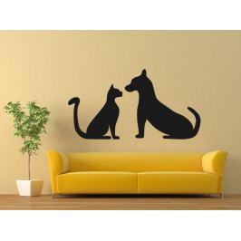 Samolepka na zeď Kočka a pes 0550