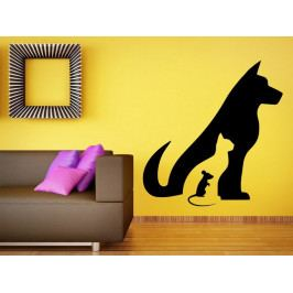 Samolepka na zeď Kočka, pes a myš 0552