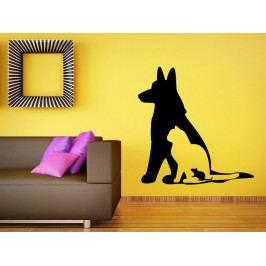 Samolepka na zeď Kočka a pes 0557