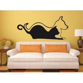Samolepka na zeď Kočka a pes 0570