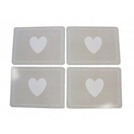 KERSTEN - Set prostírání srdce, papír/korek, šedé, 29x1,5x21,5cm, bal/4ks - (LEV-4265)