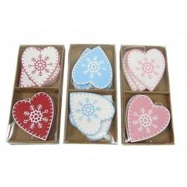 KERSTEN - Set 3ks - vánoční ozdoba srdce, MDF, mix barev, 19,7x9x2cm, bal/6ks (cena za bal,6ks) (MAS