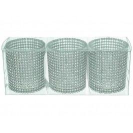 KERSTEN - Set 3ks svícnů 19,7x6,5x7,7cm sklo/plast, bal/3ks - (LEV-8201)