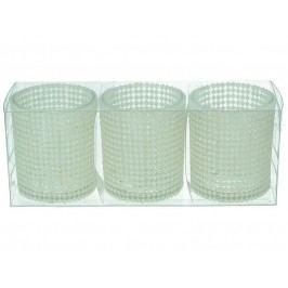 KERSTEN - Set 3ks svícnů 19,7x6,5x7,7cm sklo/plast, bal/3ks - (LEV-8202)