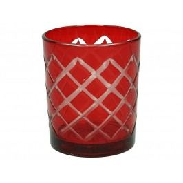KERSTEN - Svícen 8,5x8,5x9,5cm, sklo, červený - (LEV-8844)
