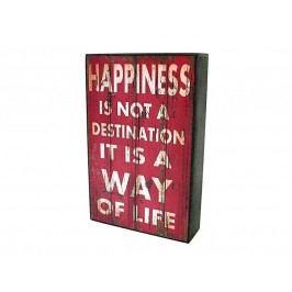 KERSTEN - Cedule HAPPINESS MDF/papír, červená 25x5x16cm - (LEV-4930)
