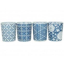 KERSTEN - Set 4ks svícnů, skleněné, modré (cena za ks) 5.6x5.6x6.7cm - (WER-0454)