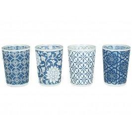 KERSTEN - Set 4ks svícnů, skleněné, modré (cena za ks) 6.2x6.2x8.5cm - (WER-0455)