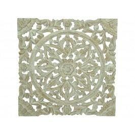 KERSTEN - Nástěnná dekorace MDF, bílá, ruční práce VINTAGE 38x1.6x38cm - (LEV-4698)