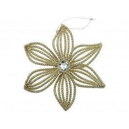 KERSTEN - Vánoční ozdoba - květina, plast, zlatá 14cm (MAS-1995)