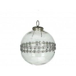 KERSTEN - Vánoční ozdoba - koule, skleněná/kov, čirá, 10.5cm (MAS-2265)