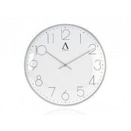 Stříbrné kovové hodiny, O30x4cm - (AX16117)
