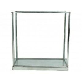 KERSTEN - Lucerna nerez. ocel/sklo, stříbrná, 21x11x22cm - (WER-0164)
