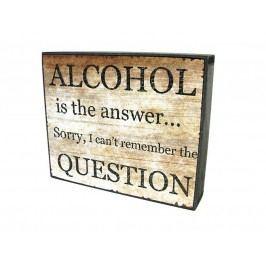 KERSTEN - Nástěnná cedule ALCOHOL MDF/papír, hnědá 14,6x3,5x17,5cm - (LEV-4927)