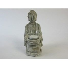 KERSTEN - Svícen Buddha, cement, šedý 11,5x10x21,5cm - (LEV-1241)