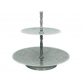 KERSTEN - Etažér 2-patrový, kovový, šedý 31x31x29cm - (LEV-9415)