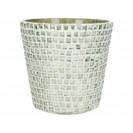 KERSTEN - Svícen stříbrný/sklo, 10x10x10cm - (LEV-9559)