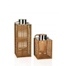 Lucerna čtvercová bambus, kov 27cm - (AX14271)