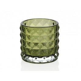 Svícen skledněný, zelený O7,5x7cm - (CR66229)
