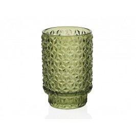 Svícen skleněný, zelený  O8,5x13,1cm - (CR66232)