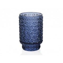 Svícen skleněný, modrý O8,5x13,1cm - (CR66233)