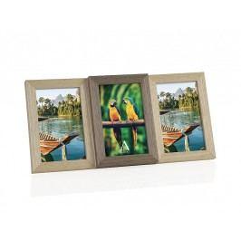 Fotorámeček dřevěný,kombinace barev, 3fotky 10x15cm - (AX66108)