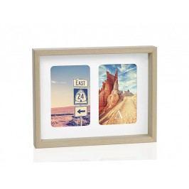 Fotorámeček přírodní dřevo, 2 fotky 10x15cm - (AX66105)