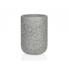 Zásobník na kartáčky, keramika, efekt žuly, O7,5x10,5cm - (BA66133)
