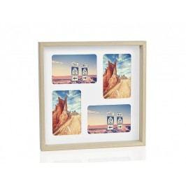 Fotorámeček přírodní dřevo, 4fotky10x15cm - (AX66107)