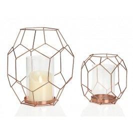 Svícen sklo/měd. 20x22.3x26.6cm - (AX15158)