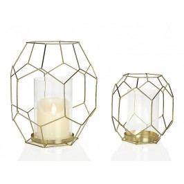 Svícen sklo/zlatý 19x21.3x25.5 cm - (AX15159)