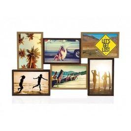 Fotorámeček dřevěný, hnědý, 6 fotek 10x15cm - (AX16075)