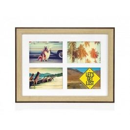 Fotorámeček dřevěný, hnědý, 4 fotky 10x15cm - (AX16073)